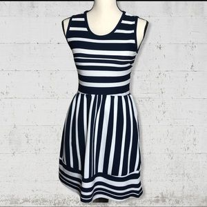 Absolute Angel Navy & White Fit & Flare Dress SZ M